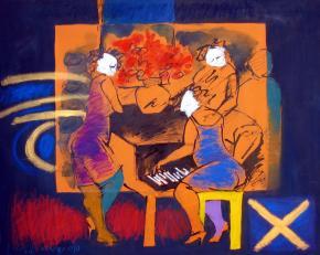 encontro musical, pintura de Roberto Chichorro
