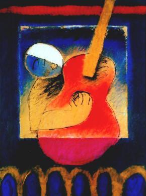 serenata com viola encarnada, pintura de Roberto Chichorro