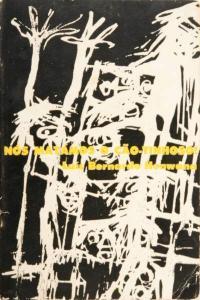 Capa de 'Nós Matámos o Cão-Tinhoso!', de Luís Bernardo Honwana, com desenho de Bertina Lopes tratado por Pancho Guedes (pormenor, inversão p/b, contraste). 1964